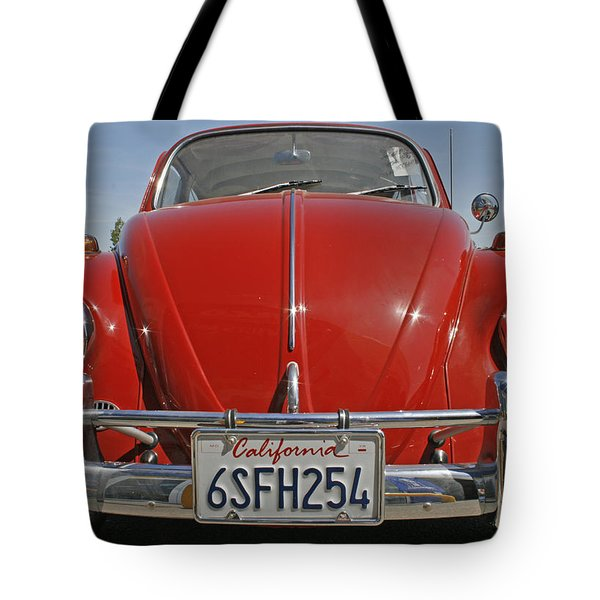 Red Volkswagen Beetle Tote Bag by Nomad Art And  Design