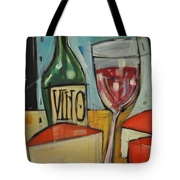 red wine and cheese Tote Bag by Tim Nyberg