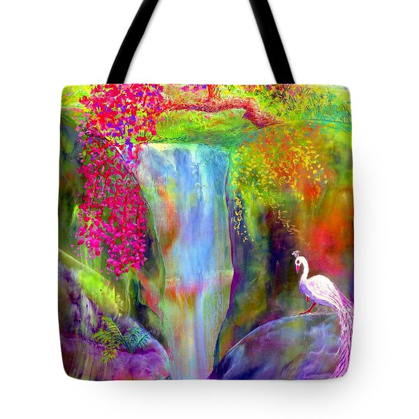 Waterfall And White Peacock, Redbud Falls Tote Bag by Jane Small