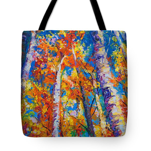 Redemption - Fall Birch And Aspen Tote Bag by Talya Johnson