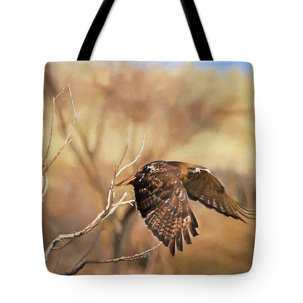 Redtail On The Move Tote Bag by Donna Kennedy