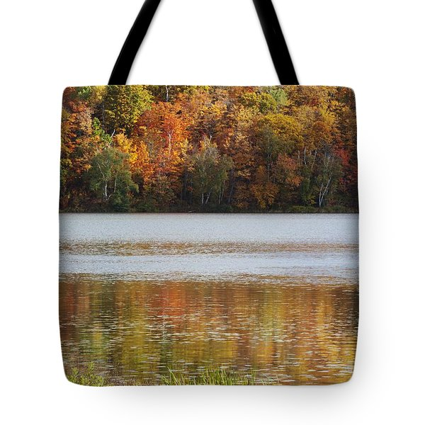 Reflection Of Autumn Colors In A Lake Tote Bag by Susan Dykstra