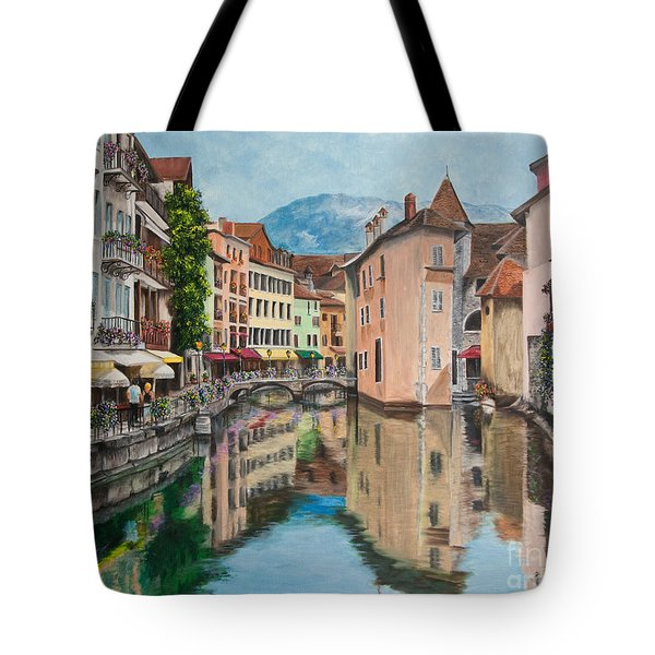Reflections Of Annecy Tote Bag by Charlotte Blanchard