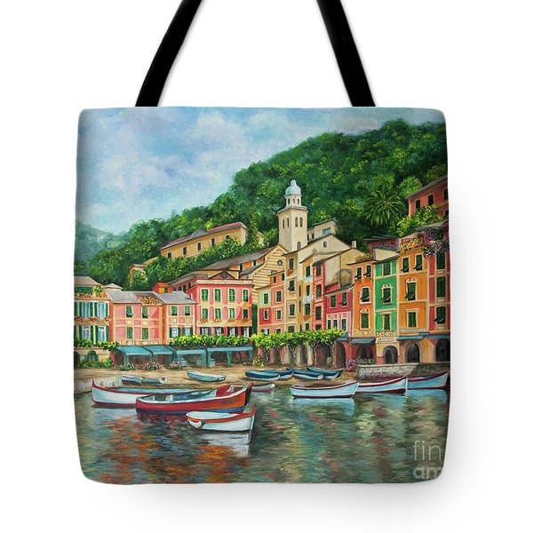 Reflections Of Portofino Tote Bag by Charlotte Blanchard