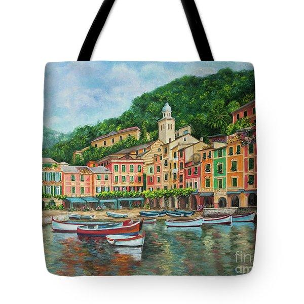 Reflections Of Portofino Tote Bag by Charlotte Blanchard