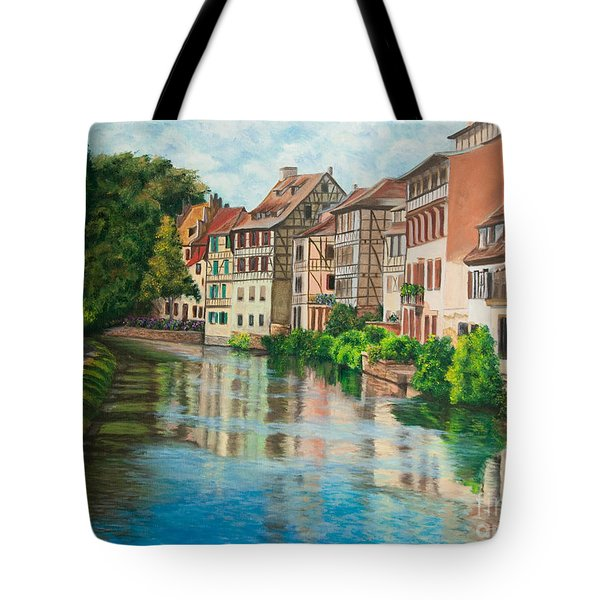 Reflections Of Strasbourg Tote Bag by Charlotte Blanchard