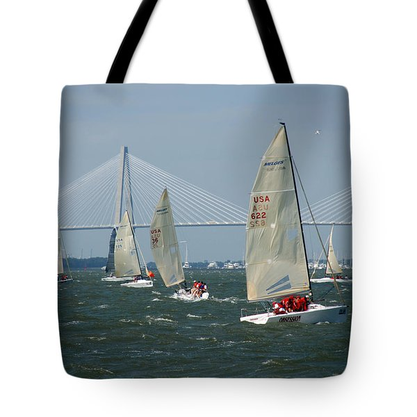 Regatta In Charleston Harbor Tote Bag by Susanne Van Hulst