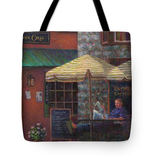 Relaxing At The Cafe Tote Bag by Susan Savad