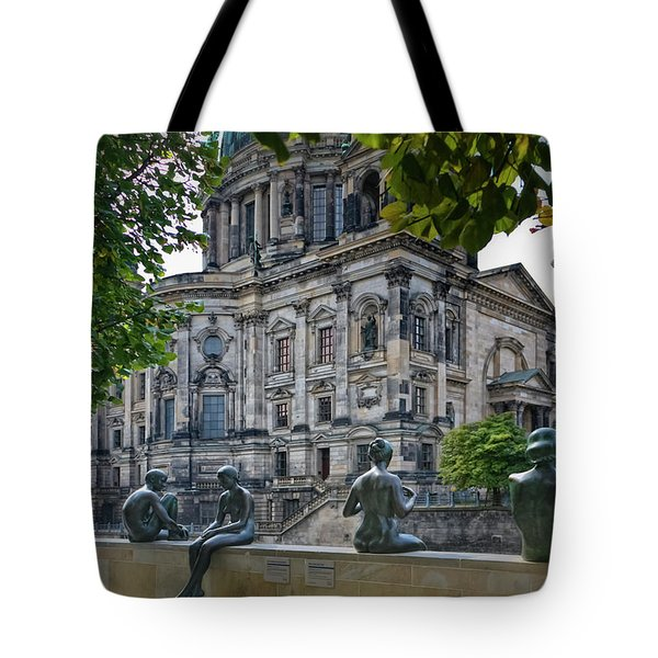 Relaxing by the River Tote Bag by Joan Carroll