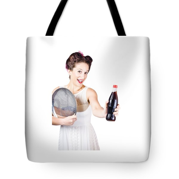 Retro Pin-up Girl Giving Bottle Of Soft Drink Tote Bag by Jorgo Photography - Wall Art Gallery