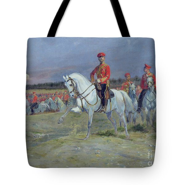 Reviewing The Troops Tote Bag by Jean Baptiste Edouard Detaille
