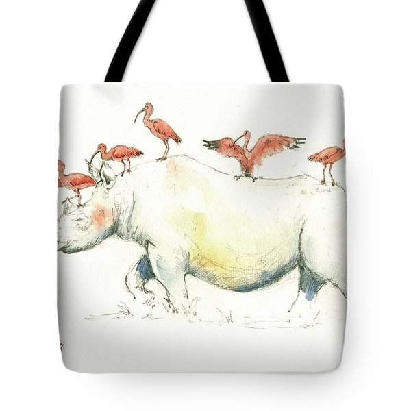 Rhino And Ibis Tote Bag by Juan Bosco