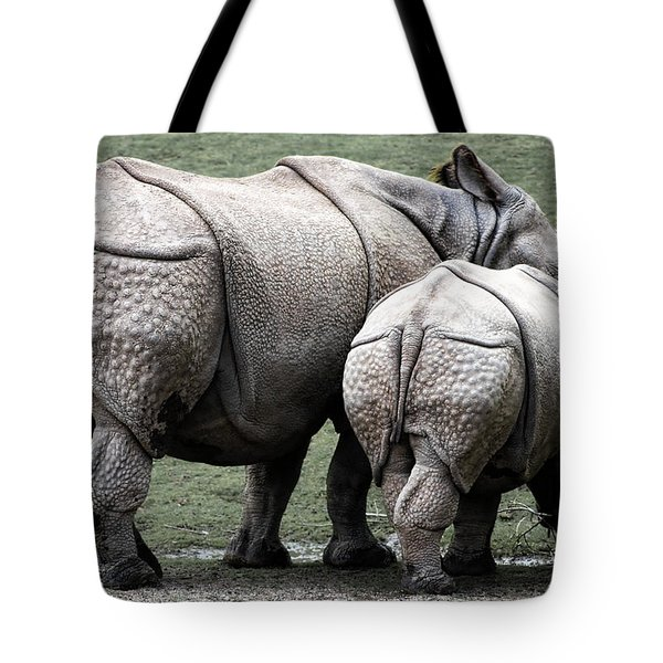 Rhinoceros Mother And Calf In Wild Tote Bag by Daniel Hagerman