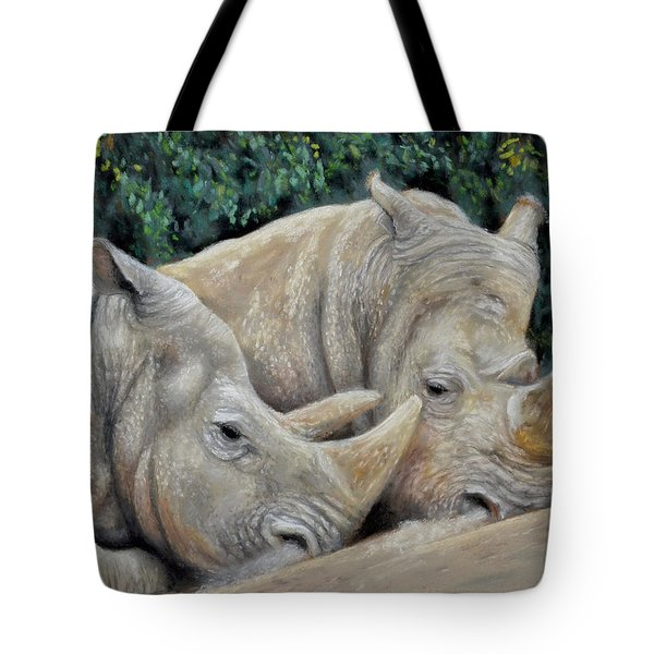 Rhinos Tote Bag by Sam Davis Johnson