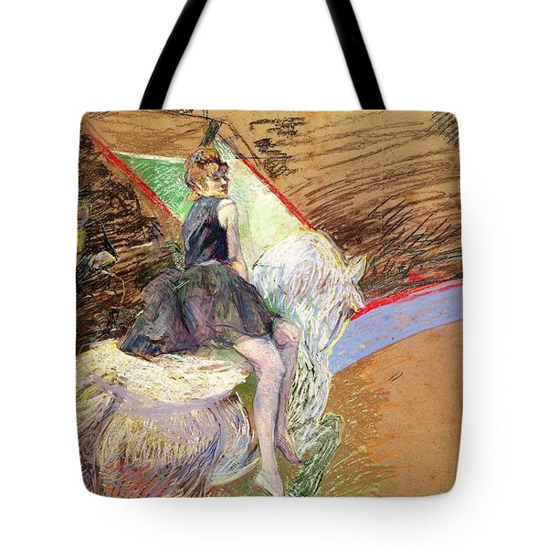 Rider On A White Horse Tote Bag by Henri de Toulouse Lautrec