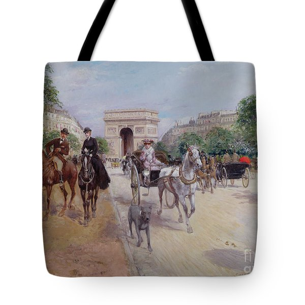 Riders And Carriages On The Avenue Du Bois Tote Bag by Georges Stein