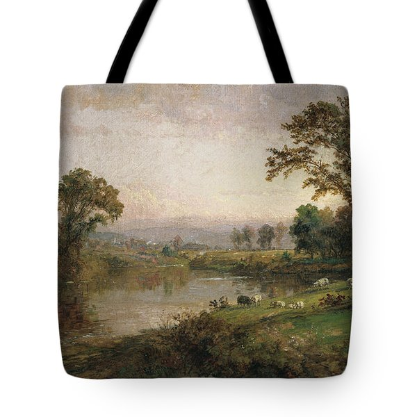 Riverscape In Early Autumn Tote Bag by Jasper Francis Cropsey