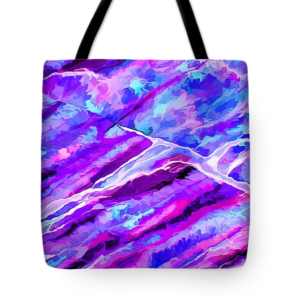 Rock Art 16 In Cyan Blue N Purple Tote Bag by Bill Caldwell -        ABeautifulSky Photography