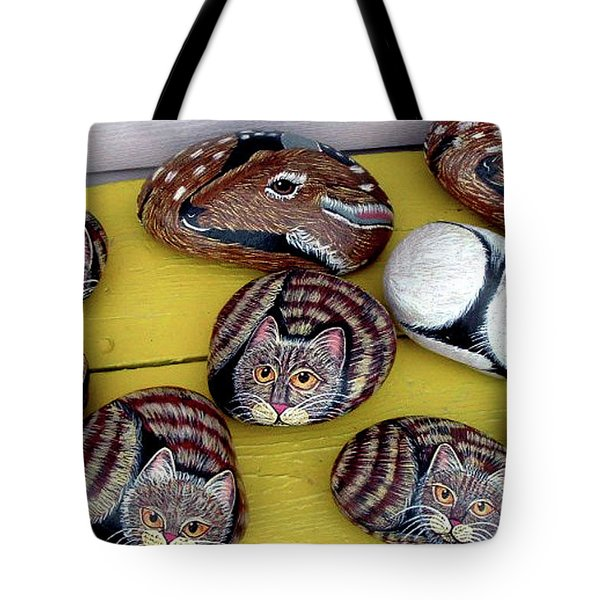 Rock Cats And Fawns Tote Bag by Barbara Griffin