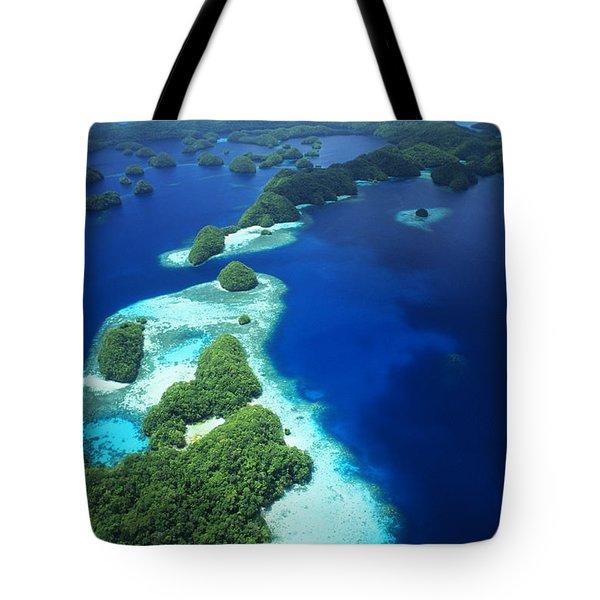 Rock Islands Aerial Tote Bag by Allan Seiden - Printscapes