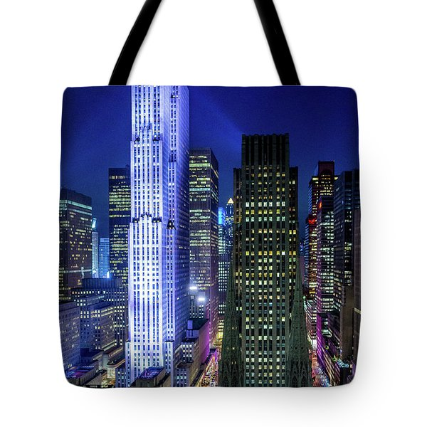 Tote Bag featuring the photograph Rockefeller At Night by M G Whittingham