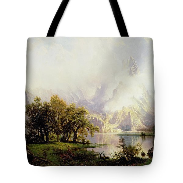 Rocky Mountain Landscape Tote Bag by Albert Bierstadt