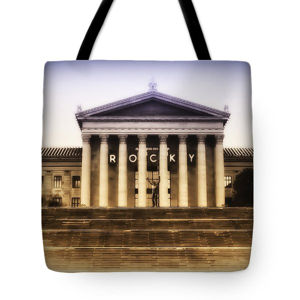 Rocky on the Art Museum Steps Tote Bag by Bill Cannon