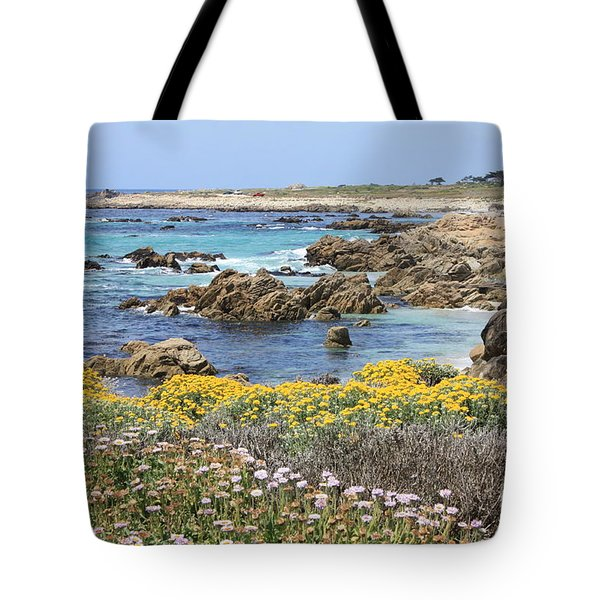 Rocky Surf With Wildflowers Tote Bag by Carol Groenen