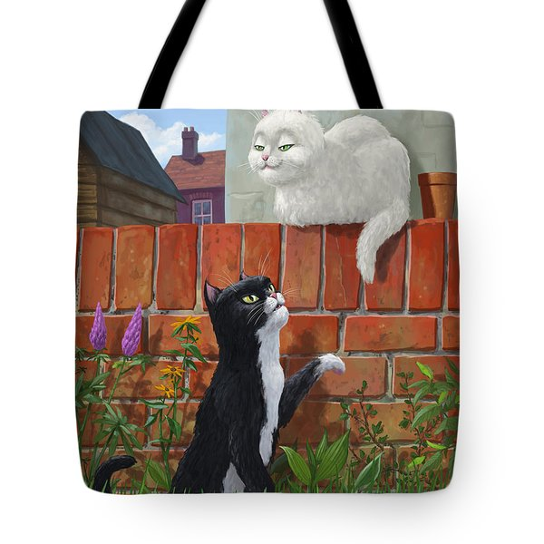 Romantic Cute Cats In Garden Tote Bag by Martin Davey