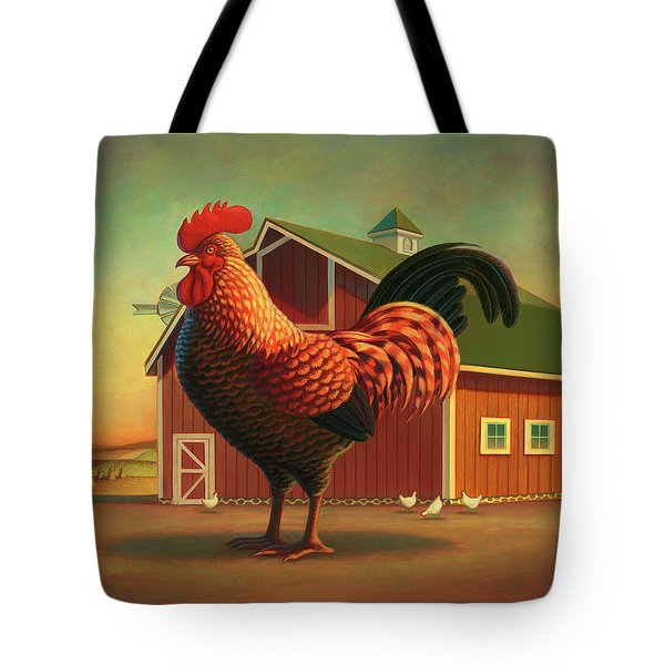 Rooster And The Barn Tote Bag by Robin Moline