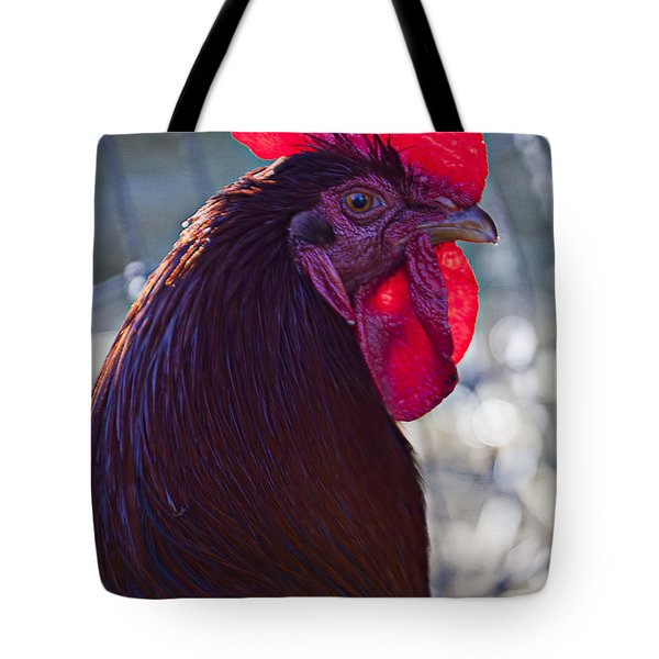 Rooster With Bright Red Comb Tote Bag by Garry Gay