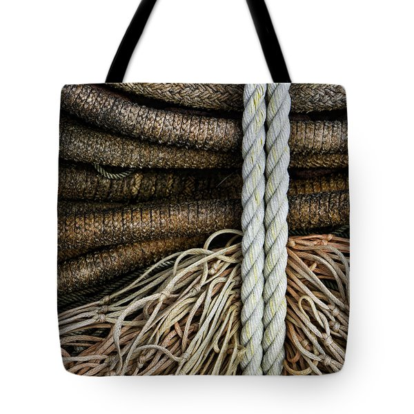 Ropes And Fishing Nets Tote Bag by Carol Leigh
