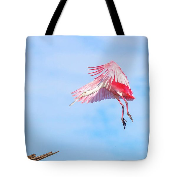 Roseate Spoonbill Final Approach Tote Bag by Mark Andrew Thomas