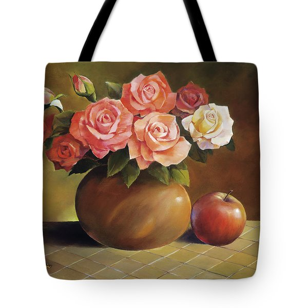Roses And Apple Tote Bag by Han Choi - Printscapes