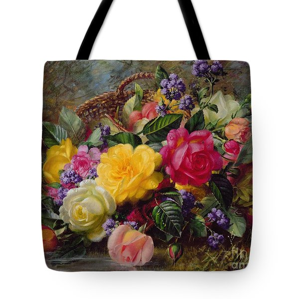 Roses By A Pond On A Grassy Bank  Tote Bag by Albert Williams