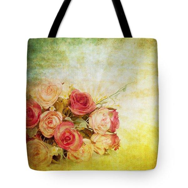 Roses Pattern Retro Design Tote Bag by Setsiri Silapasuwanchai