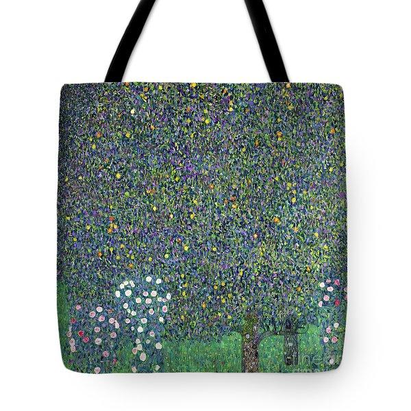 Roses Under The Trees Tote Bag by Gustav Klimt