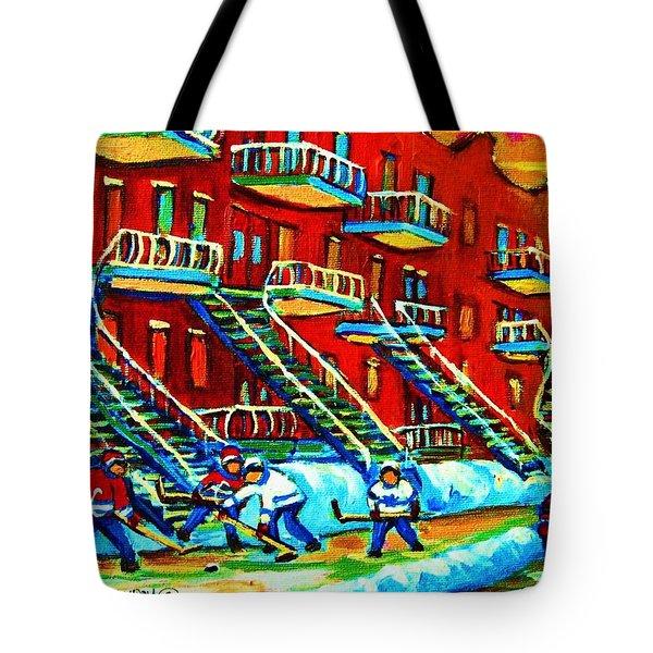 Rowhouses And Hockey Tote Bag by Carole Spandau