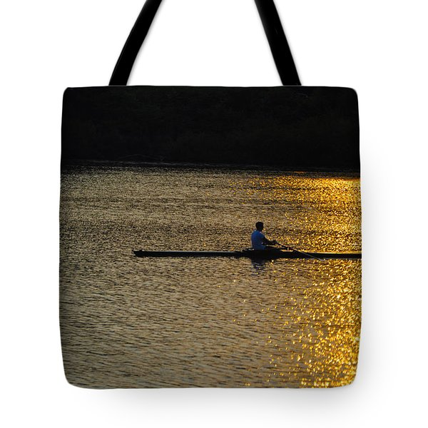 Rowing At Sunset Tote Bag by Bill Cannon