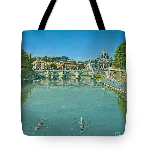 Rowing on the Tiber Rome Tote Bag by Richard Harpum