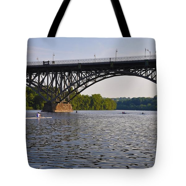Rowing Under The Strawberry Mansion Bridge Tote Bag by Bill Cannon