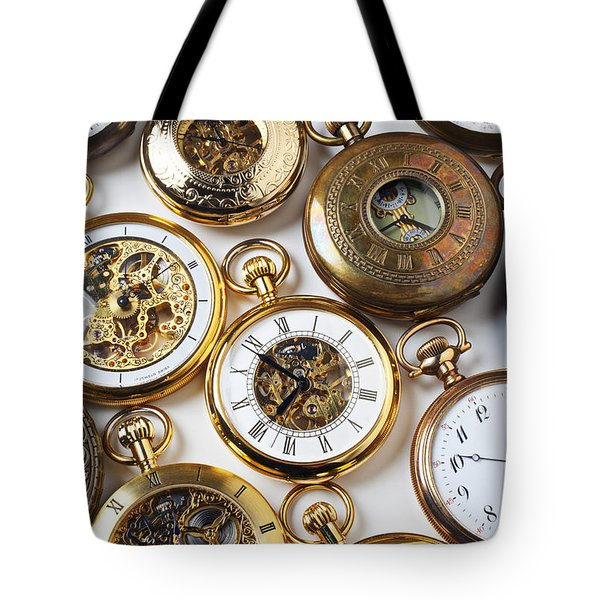 Rows Of Pocket Watches Tote Bag by Garry Gay