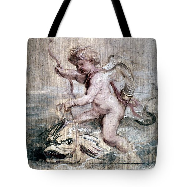 Rubens: Cupid On Dolphin Tote Bag by Granger