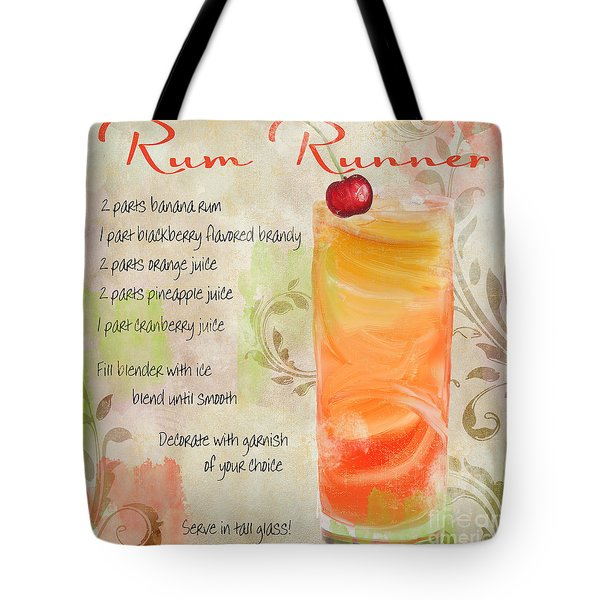 Rum Runner Mixed Cocktail Recipe Sign Tote Bag by Mindy Sommers