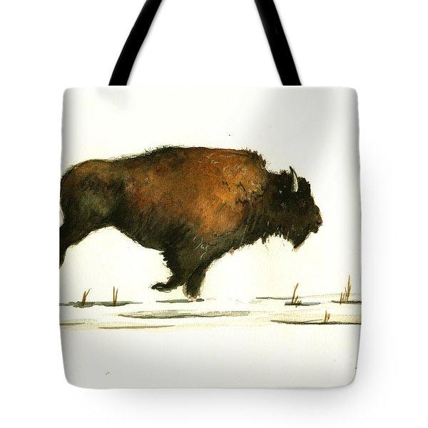 Running Buffalo Tote Bag by Juan  Bosco