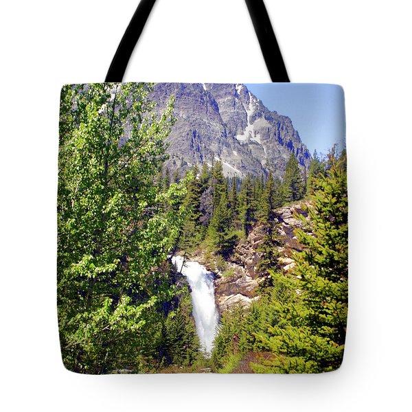 Running Eagle Falls Glacier National Park Tote Bag by Marty Koch