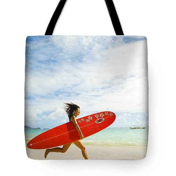 Running With Surfboard Tote Bag by Dana Edmunds - Printscapes