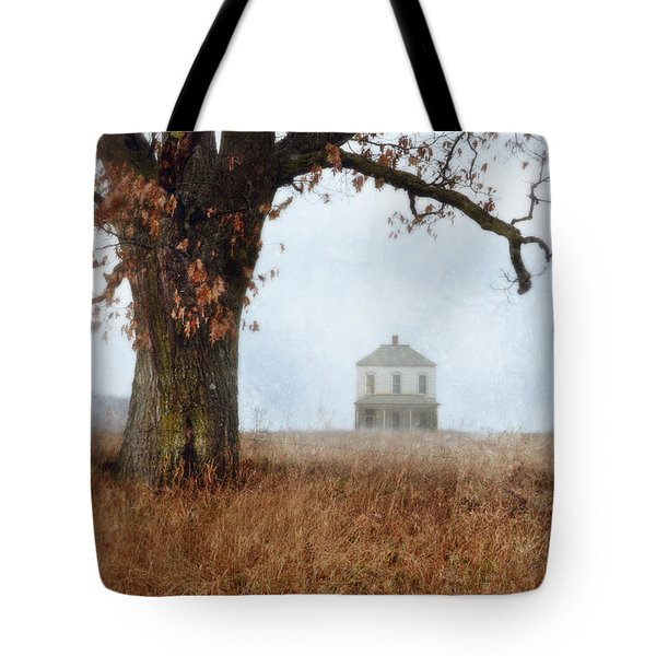 Rural Farmhouse And Large Tree Tote Bag by Jill Battaglia