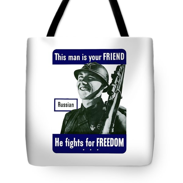 Russian This Man Is Your Friend Tote Bag by War Is Hell Store