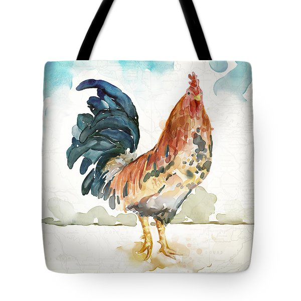 Rust Rooster Tote Bag by Mauro DeVereaux